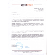 "Recomendation School ""Best Teach"""